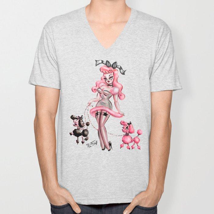Miss Pink Poodle Unisex V-Neck