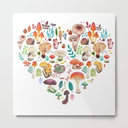 Mushroom heart Metal Print