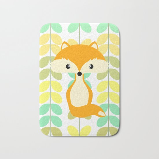 Fox and multicolored leaves Bath Mat