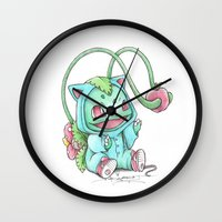 projectrocket Wall Clocks featuring Until the Apple is Ripe by Randy C