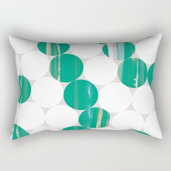 Circles(green and white) Rectangular Pillow