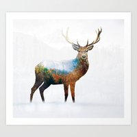 deer Art Prints featuring deer by mark ashkenazi