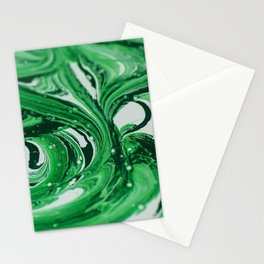 paint stains mixing green white Stationery Cards