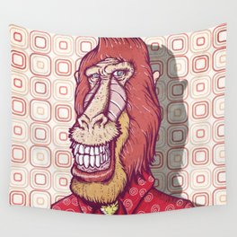 Red Babooin Portrait Wall Tapestry