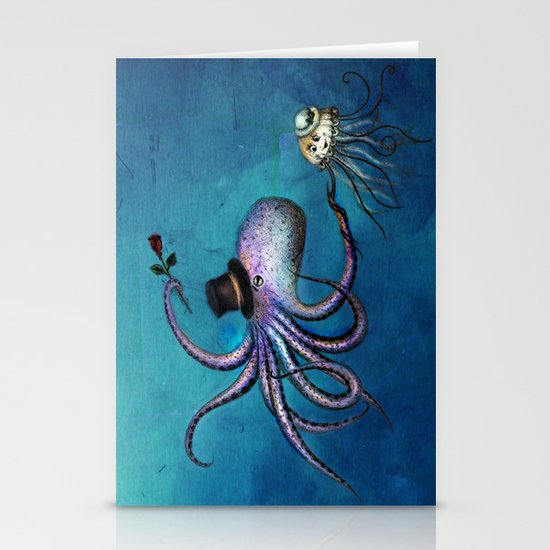 Underwater Love // octopus jellyfish Stationery Cards