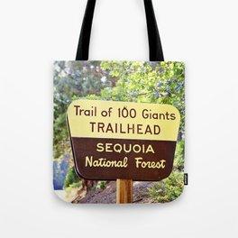 Trail of 100 Giants Vintage National Forest Sign Tote Bag