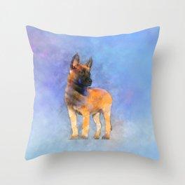 Belgian Malinois Puppy Painting - Mechelaar Throw Pillow