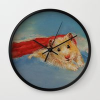 hamster Wall Clocks featuring Hamster Superhero by Michael Creese