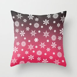 Snow Flurries-Pink/Black Ombre Throw Pillow