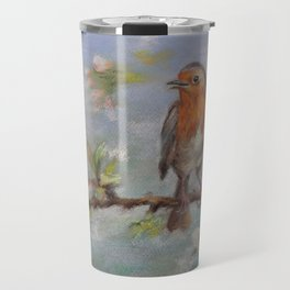 Red Robin Small bird on a blooming twig Wildlife spring scene Pastel drawing Travel Mug