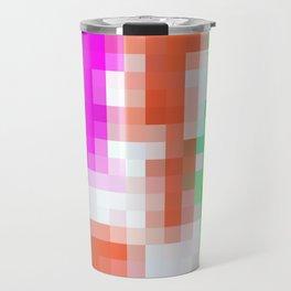 pink orange green and white pixel background Travel Mug