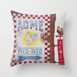 Acme Feed and Seed Nashville Tennessee Throw Pillow