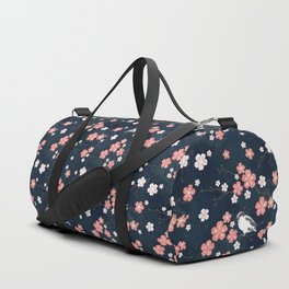 Navy blue cherry blossom finch Duffle Bag