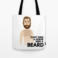 boyfriend Tote Bags featuring Naked Boyfriend by Oh my GUD