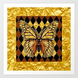 ABSTRACTED BROWN & GOLD MONARCH BUTTERFLY Art Print