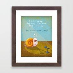 Singing snail Framed Art Print