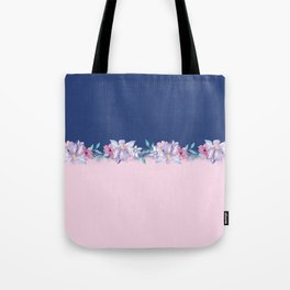 Colorblock pink lavender navy blue watercolor floral Tote Bag