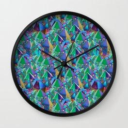 Crystal Shards in Oil Slick Rainbow Aura Wall Clock