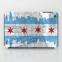 chicago map iPad Cases featuring Chicago Map  by Kasi Turpin