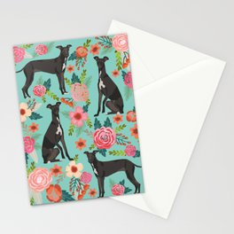 Italian Greyhound pet portraits by pet friendly dog with florals pattern Stationery Cards