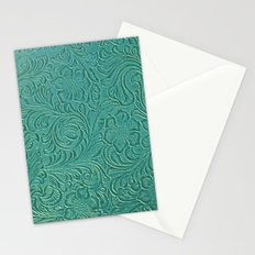 teal leather Stationery Cards