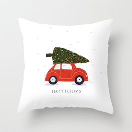 Old School Happy Holidays Throw Pillow