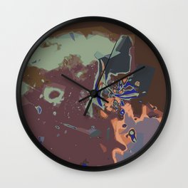 purple pink green and brown painting abstract background Wall Clock
