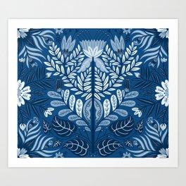 Classic Blue Damask Art Print