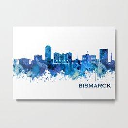 Bismarck North Dakota Skyline Blue Metal Print