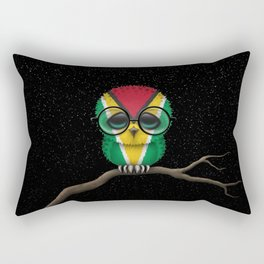 Baby Owl with Glasses and Guyanese Flag Rectangular Pillow