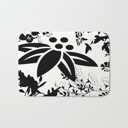 Damask Black and White Toile Floral Graphic Bath Mat