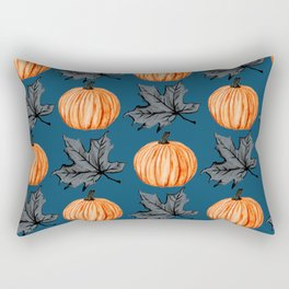 Teal Pumpkin Fall Leaf Rectangular Pillow