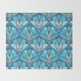 Art Deco Lotus Rising - black, teal & turquoise pattern Throw Blanket