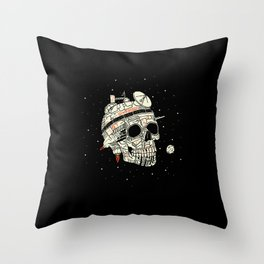Planet Space Skull  Throw Pillow