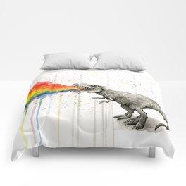 T-Rex Dinosaur Vomits Rainbow Comforters