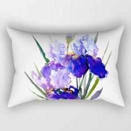 Garden Irises, Blue Purple Floral Design Rectangular Pillow