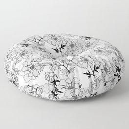 Black and white flowers Floor Pillow