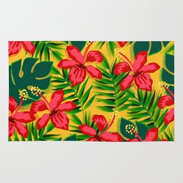 Watercolor flowers on tropical background 6 Rug