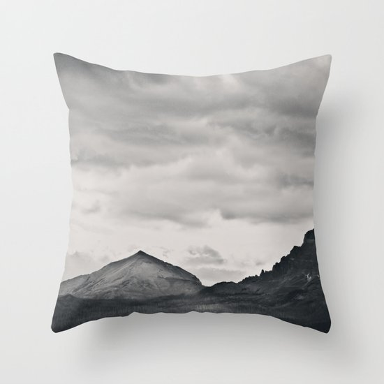 Mountain Peak and Plateau Black and White Throw Pillow