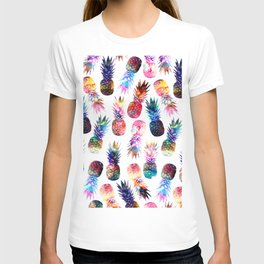 watercolor and nebula pineapples illustration pattern T-shirt