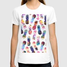 watercolor and nebula pineapples illustration pattern T-shirt