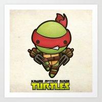 Raphael - Kawaii Mutant Ninja Turtles Art Print