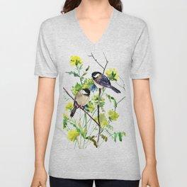 chickadees and Spring Blossom Unisex V-Neck