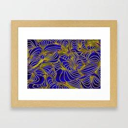 Curves in Yellow & Royal Blue Framed Art Print