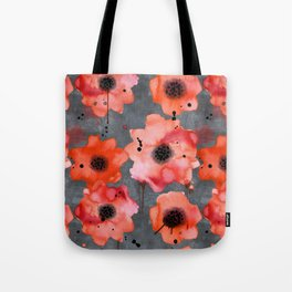 Watercolor poppies on gray background Tote Bag