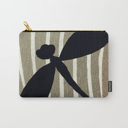 Vintage Zebra Stripe Dragonfly Silhouette Carry-All Pouch