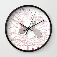 rabbits Wall Clocks featuring Rabbits by Fay's Studio