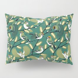 Golden-crowned Kinglets in a Pussy Willow (Greenery) Pillow Sham