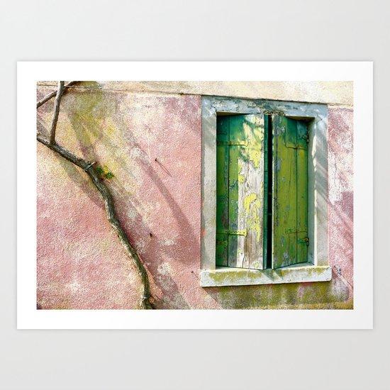 Old green window Art Print