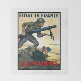 US Marines -- First In France Throw Blanket